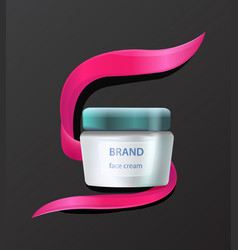 brand face cream product advertising with cosmetic vector image vector image