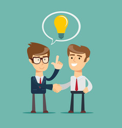 business man shake hand concept light bulb new vector image
