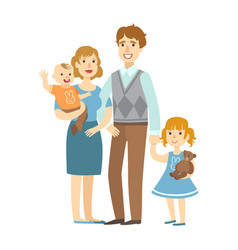 father mother baby boy and little daughter vector image
