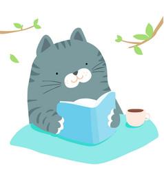 fluffy cat reading book in garden vector image vector image