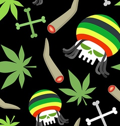 Rasta pattern Seamless background from marihuanny vector image
