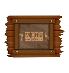 restaurant menu wooden frame and glass uno vector image vector image