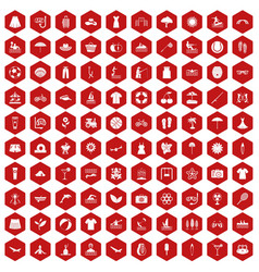 100 summer icons hexagon red vector