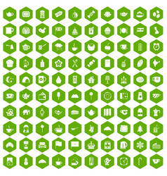 100 tea cup icons hexagon green vector