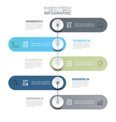5 steps modern and clean business infographics vector