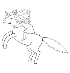 A children coloring bookpage a fluing unicorn vector