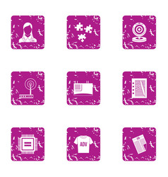 Advertising commerce icons set grunge style vector