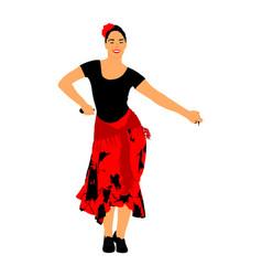 Attractive spanish girl flamenco dancer spain folk vector