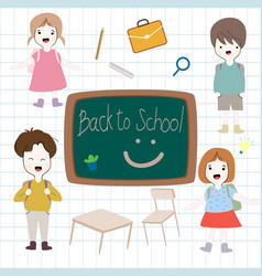 back to school cartoon baby boy and girl vector image