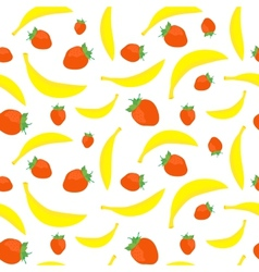 Bananas and strawberries seamless vector image