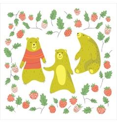 Bear and raspberry vector image