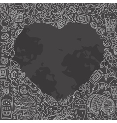 Beer doodles in heart shape vector image