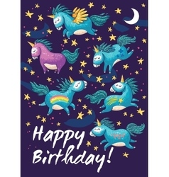 Birthday card with cute unicorns cartoon vector