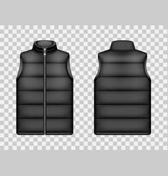 Black sleeveless puffer jacket down vest mockup vector