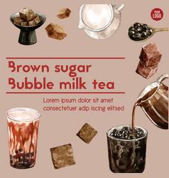 Brown sugar bubble milk tea ad content vintage vector