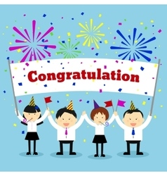 Businessmen holding congratulation sign vector image