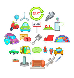 car maintenance icons set cartoon style vector image