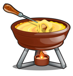 Cheddar and hot cheese fondue isolated on a white vector