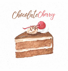 Chocolate cherry cake hand draw sketch watercolor vector