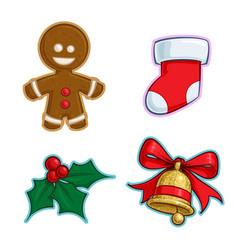 Christmas cartoon icon set - gingerbread stocking vector