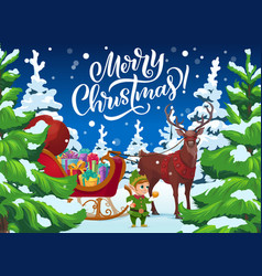 Christmas elf and reindeer sleigh with xmas gifts vector