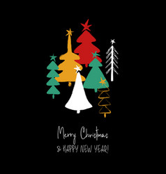 christmas greeting card with trees vector image