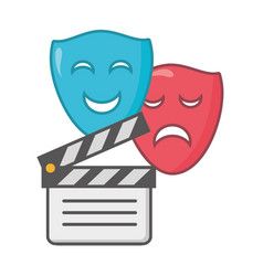 Clapperboard drama comedy masks vector