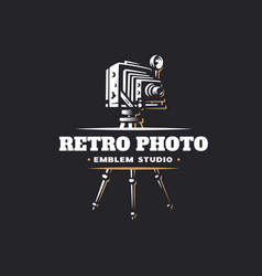 classic photo camera logo vector image