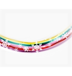 Color wave line with snowflakes winter vector image