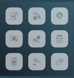 commerce icons line style set with coupon call vector image
