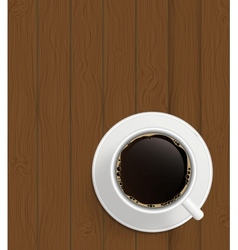Cup of cofee on boards Background vector image