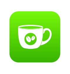 Cup of coffee icon digital green vector