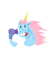 Cute funny unicorn character blowing dry its mane vector