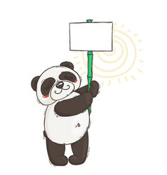 cute panda with a poster on a bamboo stick vector image