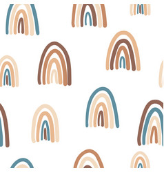 cute rainbows seamless pattern trendy background vector image