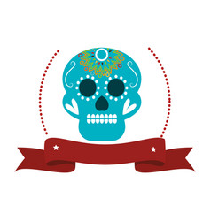 decorative ornamental sugar skull with ribbon vector image