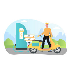eco transport charging get ready to deliver pizza vector image