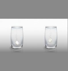 effervescent soluble tablet in water glass vector image