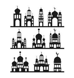 Eid mubarak set temples facades monochrome vector