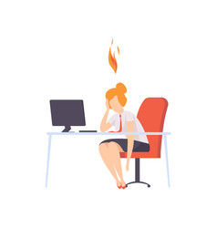 exhausted tired woman sitting at her working place vector image