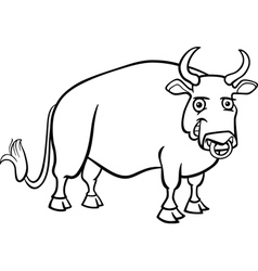 farm bull cartoon for coloring book vector image