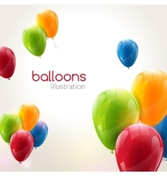 Flying festive balloons shiny with glossy vector