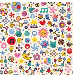 Fun doodle cartoon pattern vector