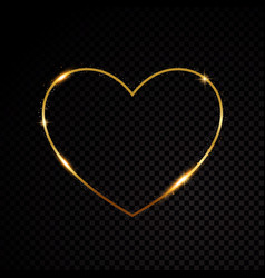 gold glittering star dust valentines day heart vector image