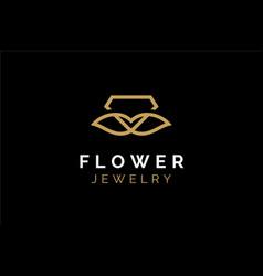 golden rose flower gold diamond jewelry logo vector image