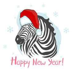 Graphical zebra in santa claus hat isolated on vector