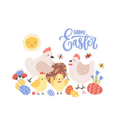 Greeting card template with happy easter holiday vector