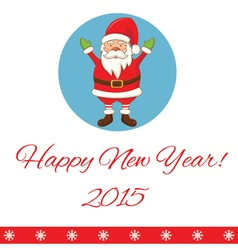Greeting card with cartoon Santa Claus vector