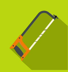 Hacksaw with orange handle icon flat style vector