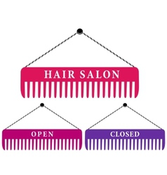Hair salon sign with comb vector